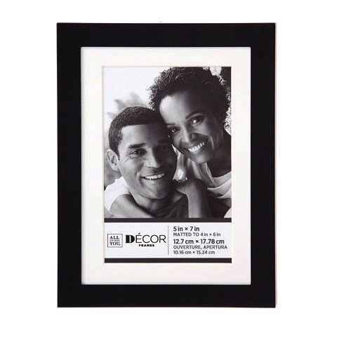 Darice Silver Frames - Darice 30028696 Simple Black Picture Frame w/Matting: 5x7 to 4x6