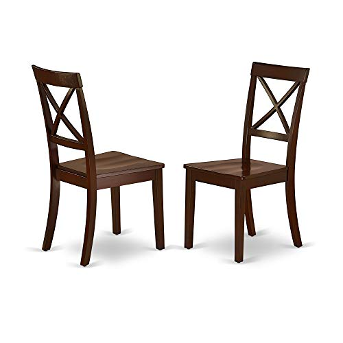 - East West Furniture BOC-MAH-W Boston Kitchen Dining Chair Wood Seat in Black and Cherry Finish (Set of 2), Mahogany