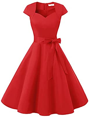 Dressystar Women Vintage 1950s Swing Cap Sleeevs Prom Cocktail Dresses V Neck