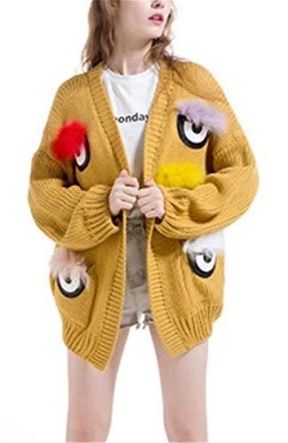 Casuali Giacca Cappotto Lanceyy A Grazioso Primaverile Baggy Eleganti Lunga Calda Giaccone Fashion Donna Manica Ricamo Maglia Schwarz Autunno Cardigan Stlie waadS6