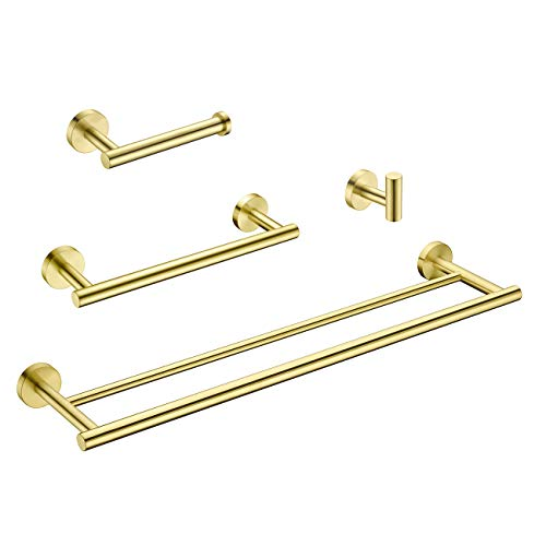 Hoooh 4-Piece Bathroom Accessories Set Stainless Steel Wall Mount Brushed Gold - Includes Double Towel Bar, Hand Towel Rack, Toilet Paper Holder, Robe Hooks, BS100S4-BG (Towel Gold Rack)