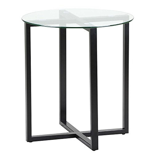 Iron Base Console - Topeakmart 19.7 Diameter Round Side Table - Glass Top and Black Base