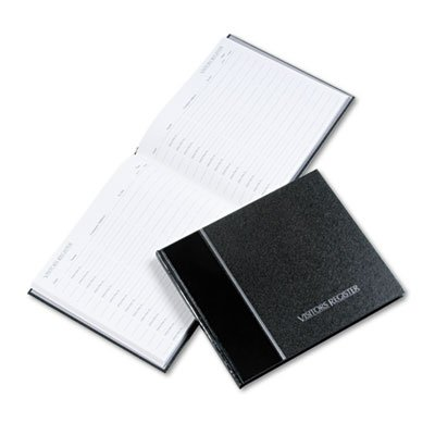 Visitor Register Book, Black Hardcover, 128 Pages, 8 1/2 x 9 7/8, Sold as 1 Each