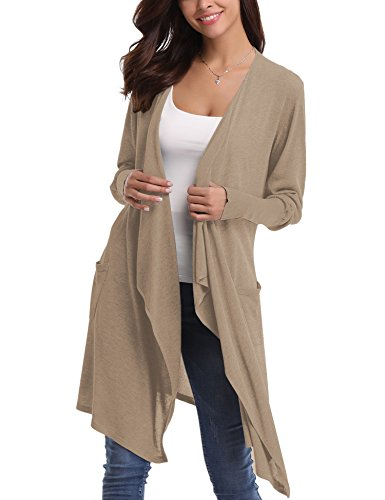 Abollria Womens Long Sleeve Winter Autumn Knit Open Drape Front Casual Solid Cardigan Sweaters with Pockets (S, Apricot) (Drape Front Knit)