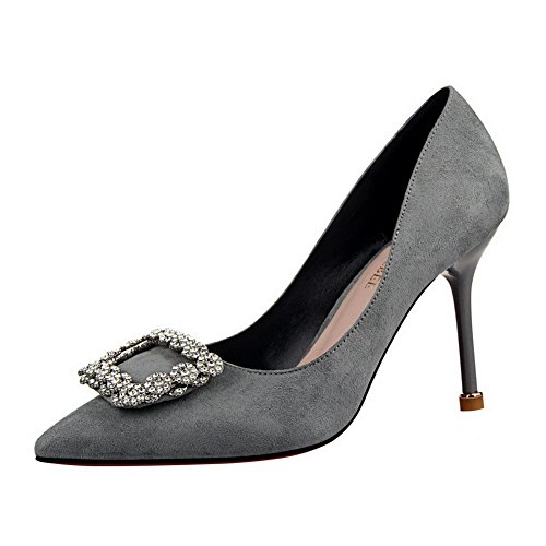 High Suede Gray Imitated Heels Shoes On Pointed Pull Solid Pumps Women's 34 Toe WeiPoot Eq0fpwFx7