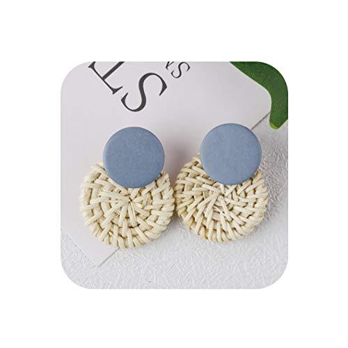 Bohemia Handmade Geometric Drop Earrings For Women Boho Rattan Straw Weave Knit Vine Earring,21