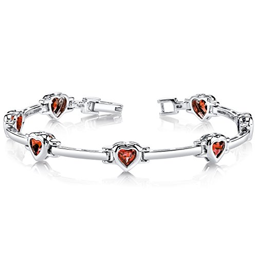 ling Silver Rhodium Nickel Finish Heart Shape 3.75 Carats (Cheerleading Sterling Silver Bracelets)