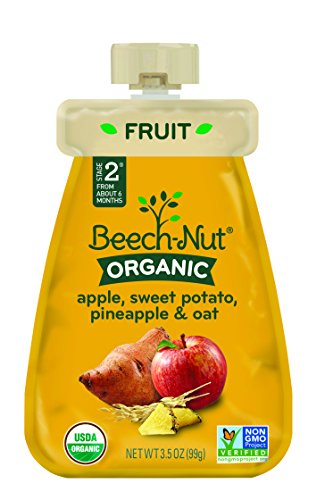 Beech-Nut Organic Baby Food, Stage 2, Organic Apple, Sweet Potato, Pineapple & Oat, 3.5 Ounce Pouch (Pack of 12)