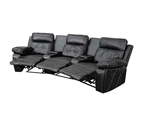 Comfort 3-Seat Reclining Black Leather Theater Seating Unit with Curved Cup Holders Decor Comfy Living Furniture Deluxe Premium Collection ()