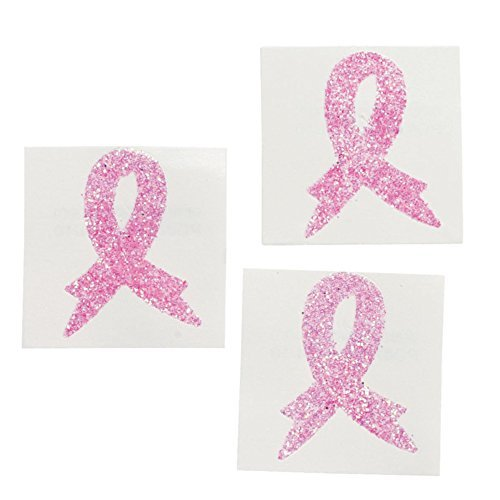 - 48 PINK RIBBON Glitter BODY TATTOO Stickers/4 DOZEN/Breast Cancer AWARENESS/Fundraising/EVENT/WALK/RUN