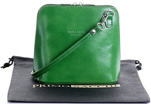 Italian Leather, Green Small/Micro Cross Body Bag or Shoulder Bag Handbag. Includes Branded a Protective Storage Bag.
