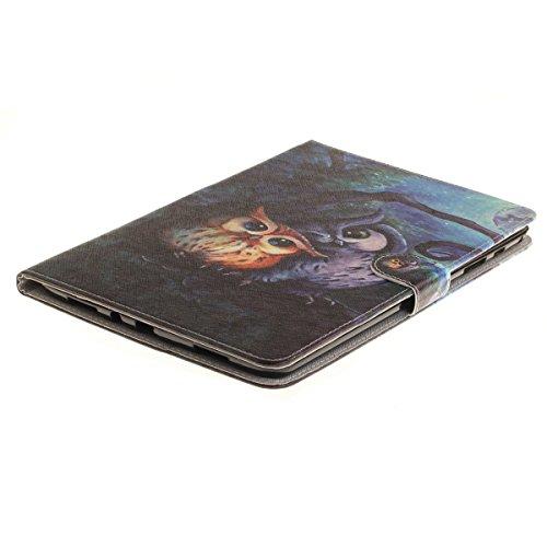 Ukayfe Flip funda de cuero PU para Samsung Galaxy Tab A 9.7 T550, Leather Wallet Case Cover Skin Shell Carcasa Funda para Samsung Galaxy Tab A 9.7 T550 con Pintado Patrón Diseño, Cubierta de la caja F Pintura del búho