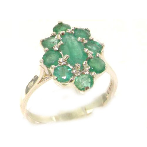 (925 Sterling Silver Real Genuine Emerald Womens Promise Ring - Size 9)