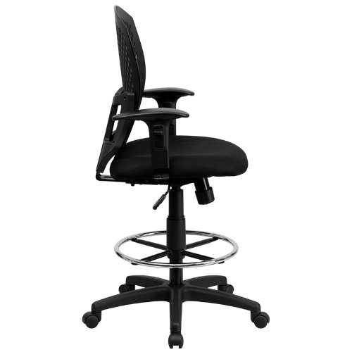 Flash Furniture Mid-Back Designer Back Drafting Chair with Fabric Seat and Adjustable Arms