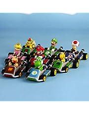 مجموعة ألعاب تزيين الكيك من آي أمبوك 8 قطع من ماريو كارت لسحب الظهر - لوازم تزيين الكيك لحفلات أعياد الميلاد للأطفال