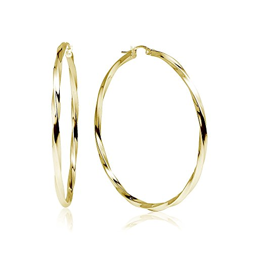 - LOVVE Yellow Gold Flashed Sterling Silver High Polished Twist Round Click-Top Hoop Earrings, 2x50mm