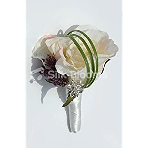 Stunning Ivory Pink Tipped Rose Grooms Buttonhole w/ Allium 13