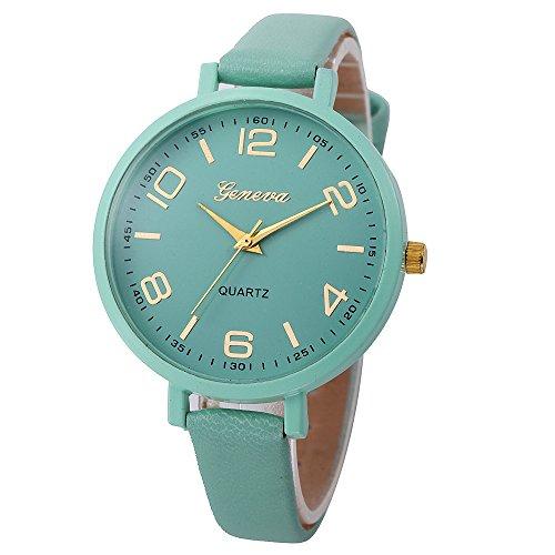 Promise Jewelry, Muranba Women Casual Checkers Faux Leather Quartz Analog Wrist Watch (Green)