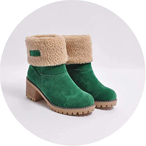 High end Ladies Winter Round Toe Shoes Flock Warm Martin Slip-On Snow Outdoor PU Leather Short Boots,6MUS,Green