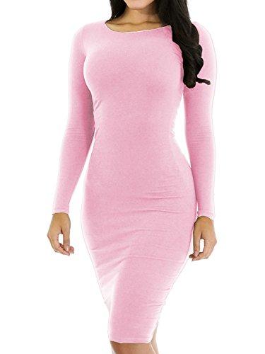 Pink Long Sleeve Dress - Haola Women's Sexy Casual Long Sleeve Short Dress Slim Party Club Mini Dress S Pink