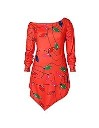 HHmei Christmas Women's Long Sleeve Skew Neck Color Lights T-Shirt Blouse Tops