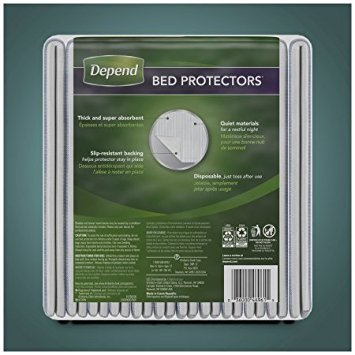 Depend Incontinence Bed Protectors, Disposable Underpad, Overnight Absorbency, 12 Count (Pack of 5)