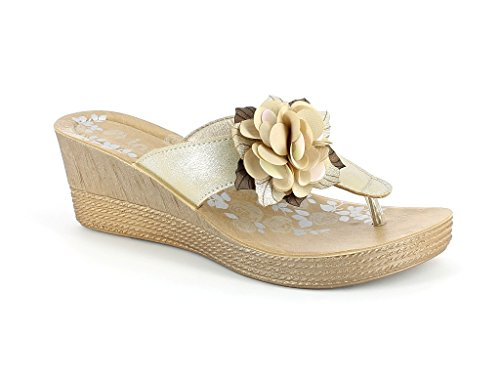 AARZ LONDON Womens Ladies Everyday Wear Casual Slip-on Comfort Super Lightweight Spring Summer Sandal Shoes Size Gold V1zkDRC