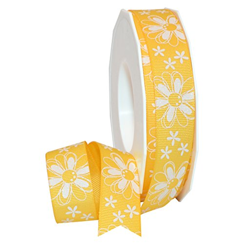 Yellow Glitter Daisy Ribbon 7/8 in. x12ft. Decorative Ribbon - Great for Any Occasion!