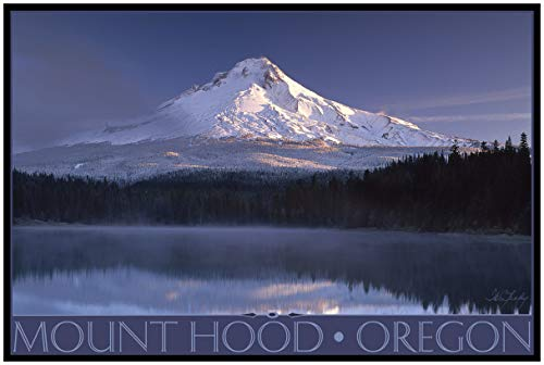 Mount Hood Oregon Fog Travel Art Print Poster by IKE Leahy (24