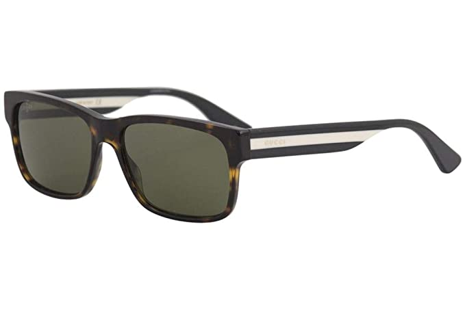 Gafas de Sol Gucci GG0340S DARK HAVANA/GREEN hombre: Amazon ...