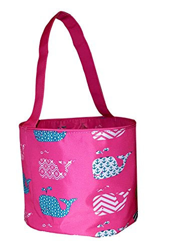 Fabric Bucket Tote Bag for Children - Toys - Easter Basket - Can Be Personalized (Pink Whale Print)