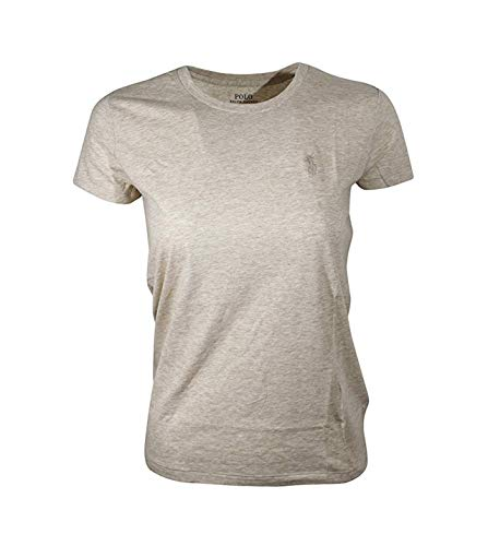 RALPH LAUREN Sport Women's Lightweight Crew-Neck T-Shirt (Medium, Dune -