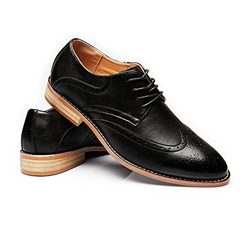 Nero Color da Dimensione Primavera Carving shoes EU Nero Traspirante 2018 lacci Vera Hollow Fang imbottiti 39 Wingtip Matte Business con Estate Scarpe uomo Brogue pelle RYH1wx