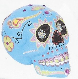 Fancy Day of the Dead Decorated and Painted Sugar Skulls with Bling (Blue) (Foam Skull)