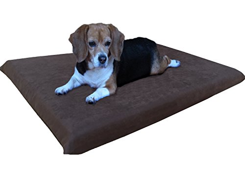 Dogbed4less Memory Foam Dog Bed for Small Medium Pet with Waterproof Internal Cover, MicroSuede Espresso 34X27X3 (Waterproof Insert)
