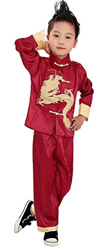 Goetland Boys Tang Suit Jacket Dragon Kung Fu Chinese Traditional Costume Embroidery, Red, Size 8