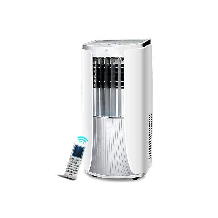 41uzBALFnjL Multifunción 3 en 1: unidad de aire acondicionado portátil con ventilador de enfriamiento y función de deshumidificación, incluida la manguera de escape. Función de enfriamiento: la capacidad de enfriamiento de 12000 BTU, con sistema de filtración de aire, puede mejorar la calidad del aire. Función de deshumidificación: puede usarse independientemente de la función de aire acondicionado; le permite extraer hasta 21 litros de exceso de agua y humedad de la atmósfera todos los días