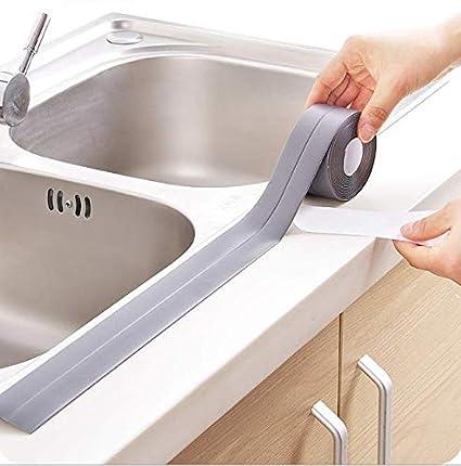 Whyyudan étanche Mildiou Bande de salle de bain Cuisine Coin Autocollant pour Home Office Utilisation 320x3.8cm café
