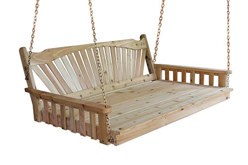 (Aspen Tree Interiors Best Porch Swing Bed, Outdoor Swinging Daybed, Patio Day Bed Swings, Hanging 3 Person Bench, Unique Western Red Cedar Outside Furniture Decor, Fanback (6 Ft Unfinished))