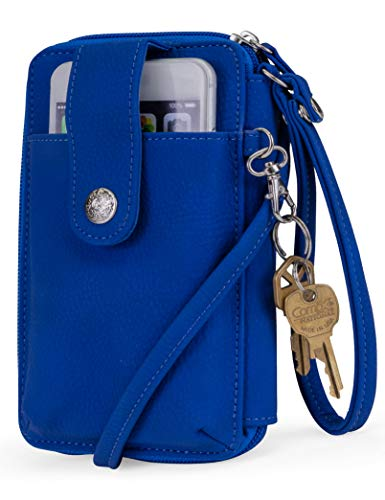 Mundi Jacqui Vegan Leather RFID Womens Crossbody Cell Phone Purse Holder Wallet (Azul)