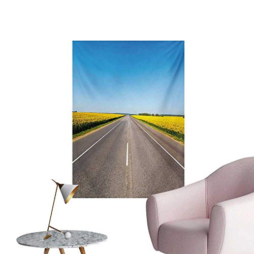 Anzhutwelve Yellow and Blue Wall Paper The Road Theme Highway with Sunflower Field Backdrop Nature PanoramaGrey Sky Blue W24 xL32 Space Poster