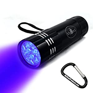 MyDeal VisiGHOST UV Ultraviolet 9 LED Blacklight Pocket Flashlight WITH BATTERIES for Paranormal Research on Ghosts, Spirits, Entities and More! Includes Strap and Carabineer Keychain