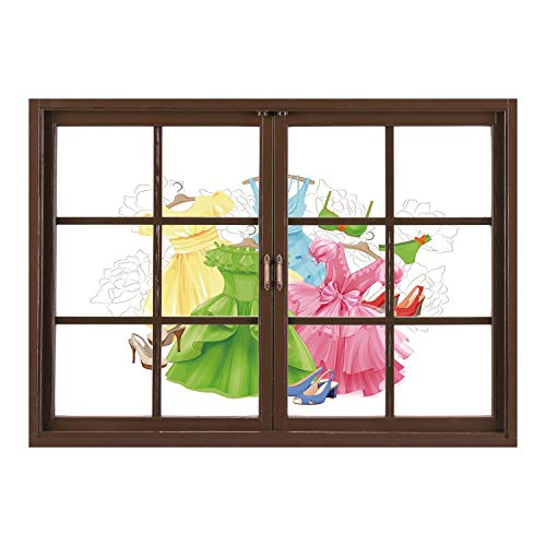 SCOCICI Wall Mural, Window Frame Mural/Heels and Dresses,Princess Outfits Bikini Shoes Wardrobe Party Costumes Girls Room Decor,Multicolor/Wall Sticker Mural -