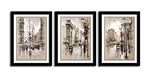 3 Panels Black Frames Giclee White Mat Artworks Black White and Gold Wall Art Canvas Prints Decor Framed Flowers Painting Poster Printed On Canvas Poppy Pictures for Home Decorations (C, S)