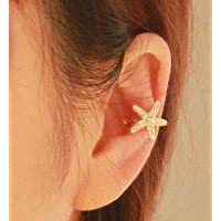 phitak shop 1pc Korea Vogue Simple Starfish Clear Crystal Lady Golden Ear Bone Clip Earring