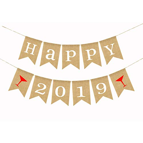 (Happy 2019 Burlap Banner Decorations - No DIY Required | Vintage Rustic Hanging Pennant Sign for New Years Eve Party Supplies Kit| Home Office Garland Bunting Décor)