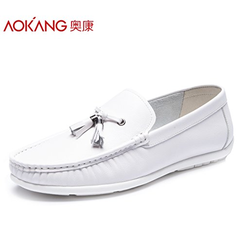 Aemember fagioli di soia nella primavera di scarpe per uomo Uomo Casual quotidiana Lazy ossa di Foot-Lok Fu scarpa ,39, bianco