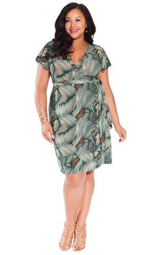 IGIGI Women's Plus Size Geneva Wrap Dress in Green Palma 22/24