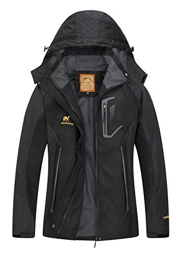 Diamond Candy Women's Hooded Waterproof Jacket Lightweight Softshell Casual Sportswear (Large, Black)