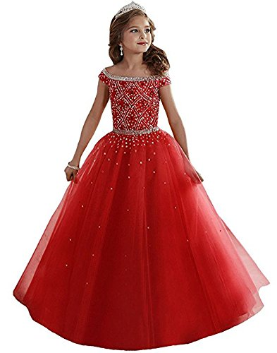 MemoryTU Big Girls Beaded Floor Length Party Ball Gown Pageant Dresses 10 US Red Floor Length Taffeta Satin